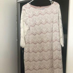 Jessica Howard white lace shift dress 3/4 sleeve